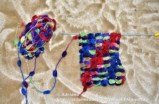 fular tricotat cu fir pom pom