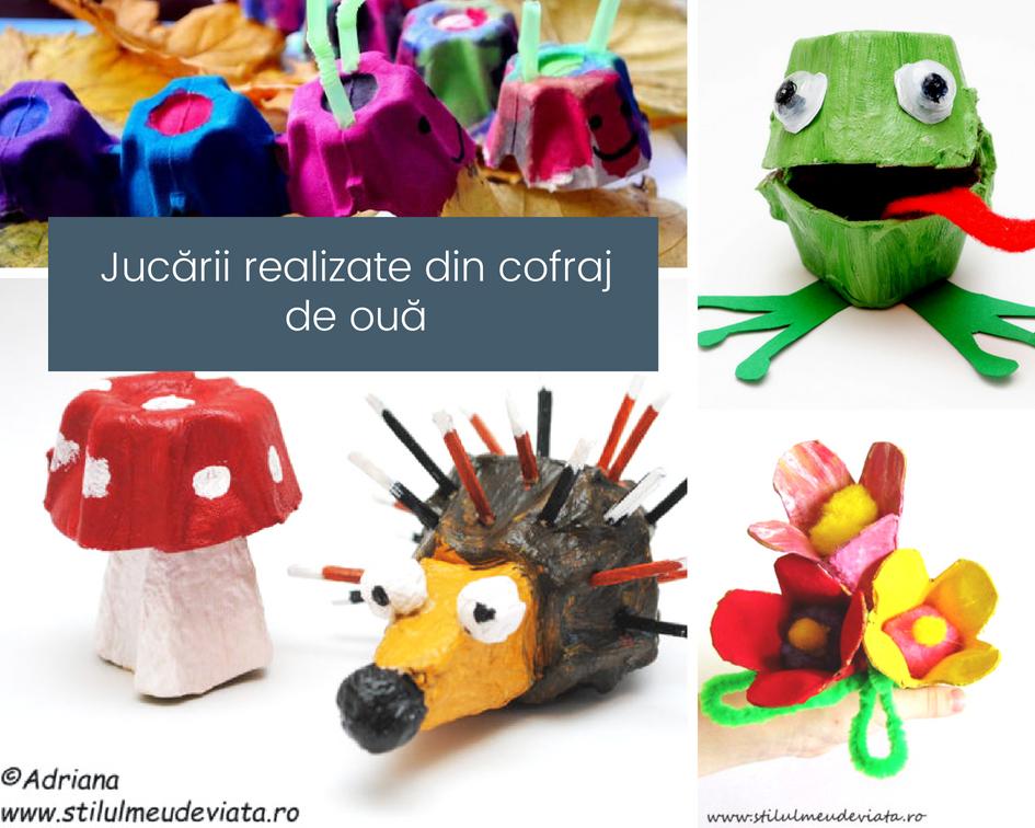 Jucării realizate din cofraj de ouă