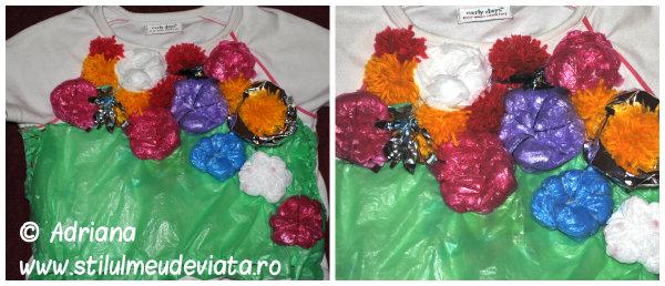 tricou accesorizat cu floricele din  pungi reciclate si pom-pom