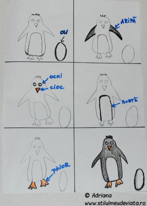 pinguin, colaj montessori