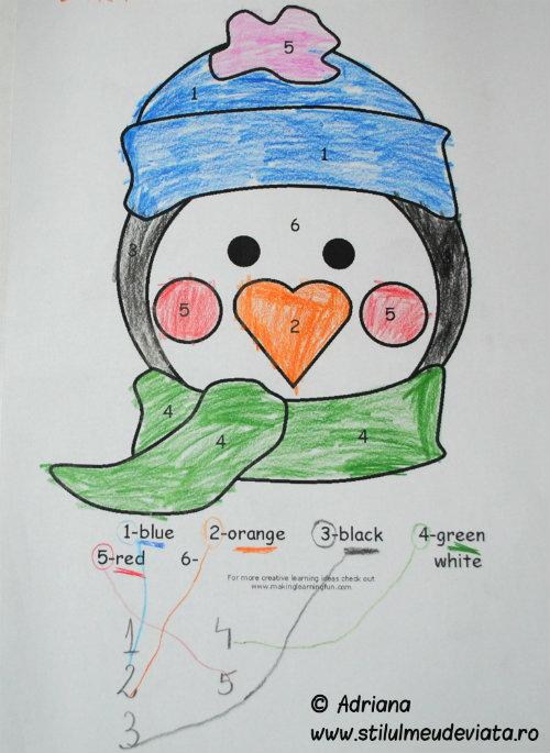 pinguin, colorare dupa numar