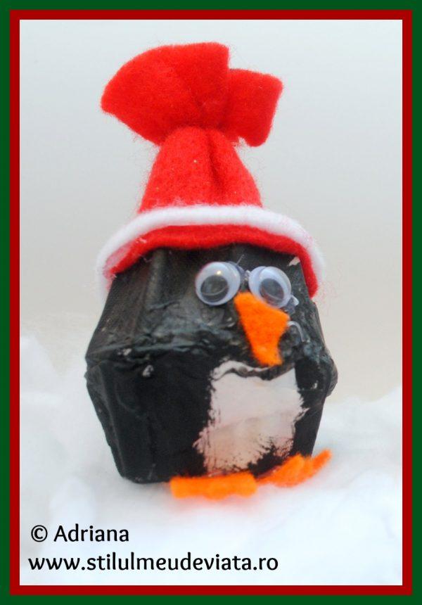 pinguin din cofraj de oua