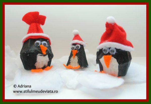 pinguini din cofraj de oua