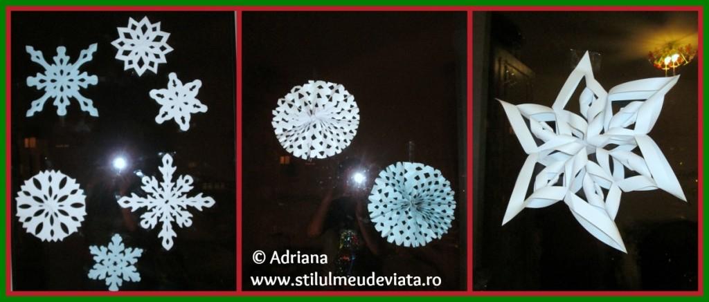 fulgi de zăpadă din hârtie - decorațiune pentru geam