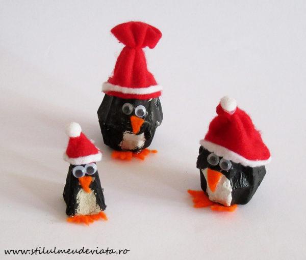 pinguini realizați din cofraj de ouă