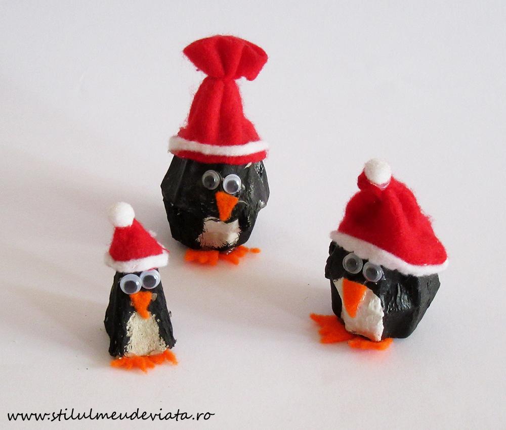 pinguini din cofraj de ouă