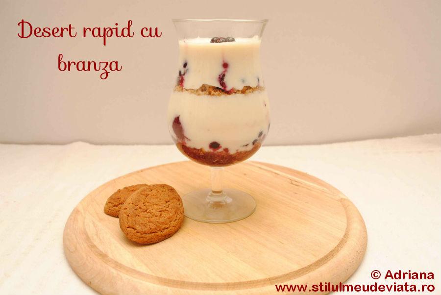 desert rapid cu branza, biscuiti si fructe de padure