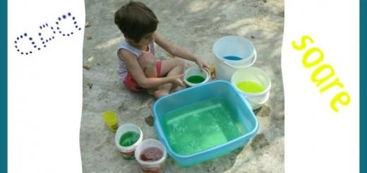 distractie cu apa si culori