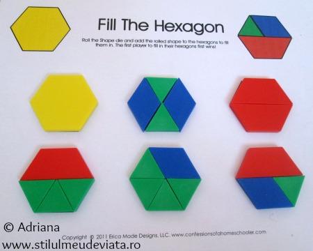 hexagon din piese tangram