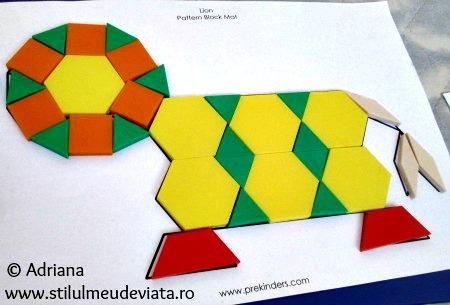 leu din piese tangram