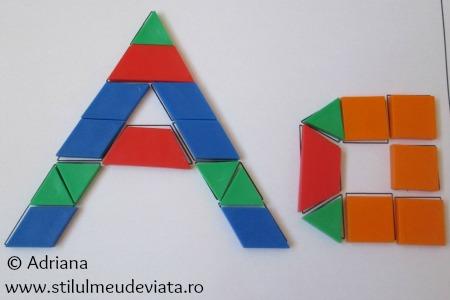 litera A din piese tangram