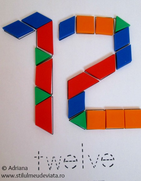 numere din piese tangram