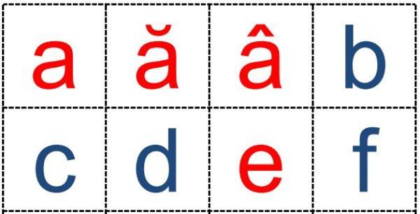 Alfabetul - cartonașe cu literele mici de tipar