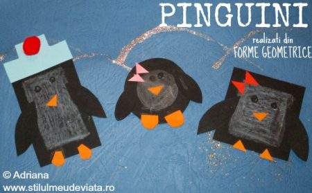 pinguini realizați din forme geometrice