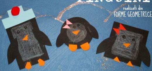 pinguini realizati din forme geometrice