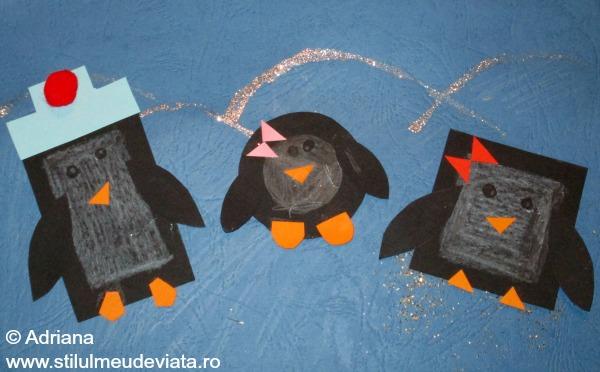 familie de pinguini realizati din forme geometrice