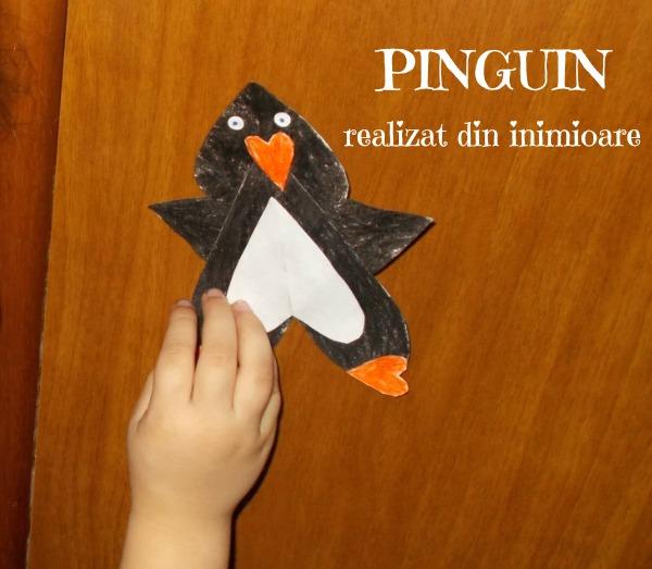 pinguin realizat din inimioara