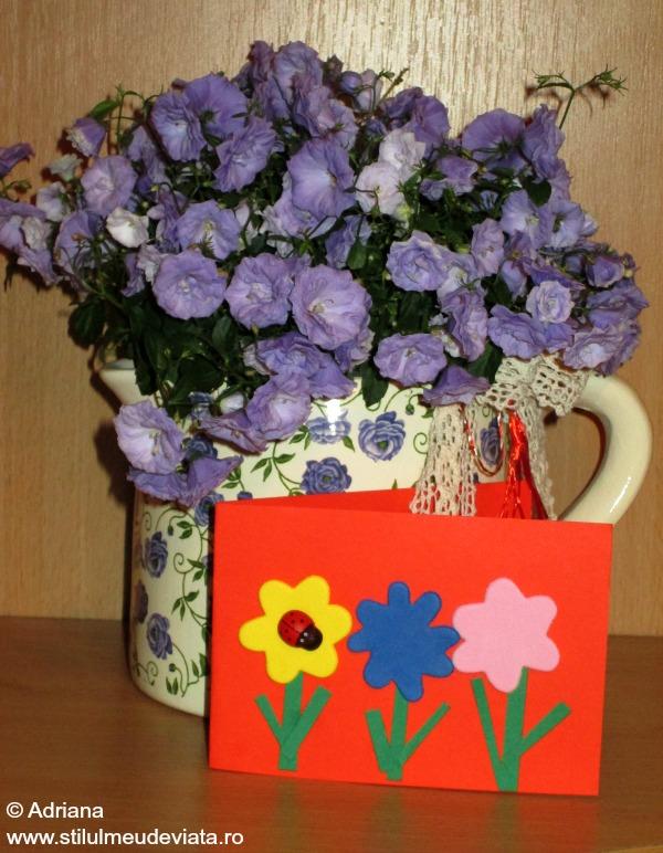 felicitare cu flori si buburuza