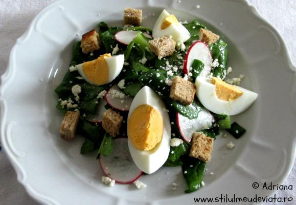 salata de spanac cu ou fiert si branza sarata