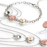 bijuterii elegante cu perle si cuart roz