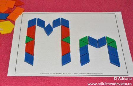 litera M din piese tangram