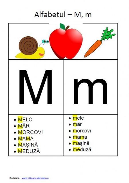 litera M - alfabetul ilustrat