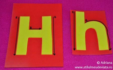 H mare si h mic, litere tactile din hartie gumata