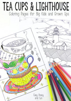 Tea-Cups-and-Lighthouse-Coloring-Pages