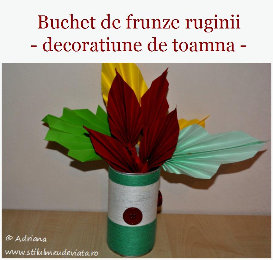 buchet de frunze ruginii, decoratiune de toamna