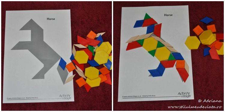 cal, piese tangram