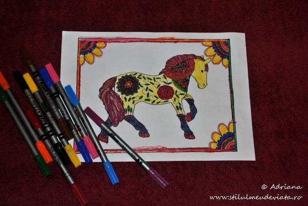 calul, fisa de colorat pentru adulti