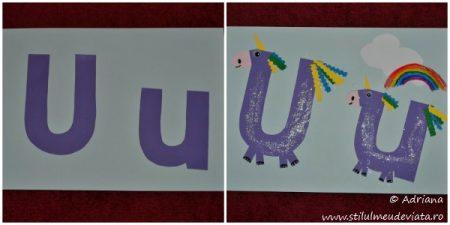 colaj - litera U de la unicorn