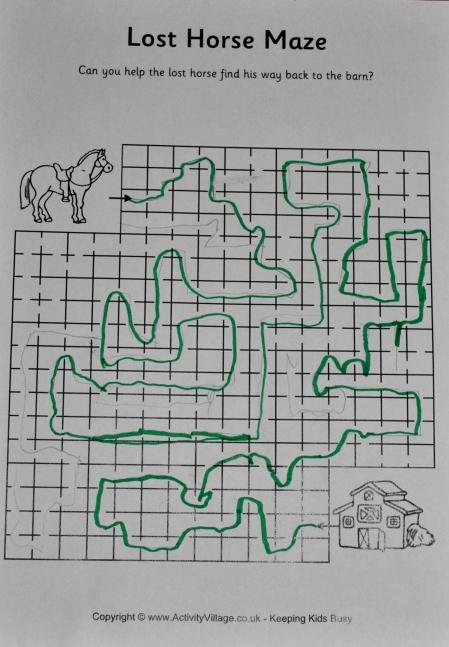 fisa labirint cu cal si hambar