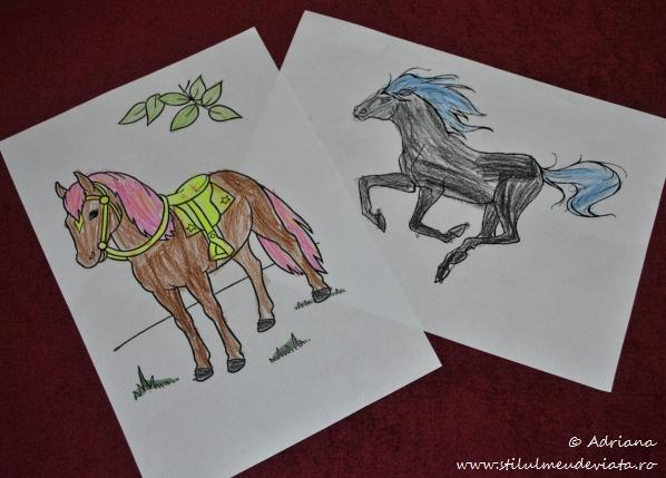 fise de colorat cu cai