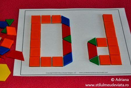litera D din piese tangram