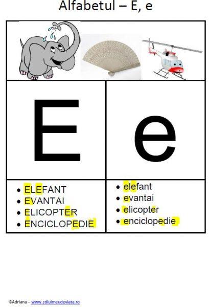 litera E - alfabetul ilustrat