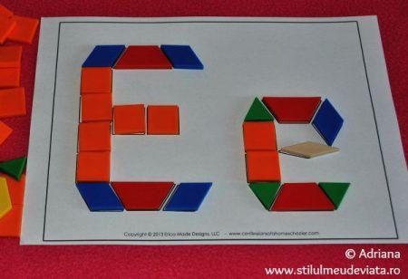 litera E din piese tangram