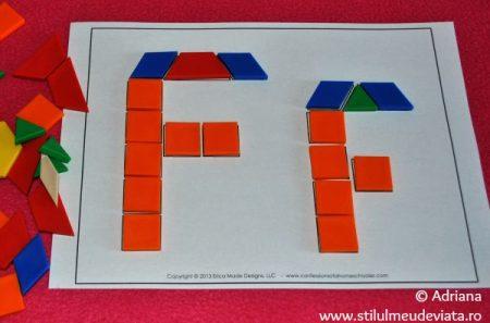 litera F din piese tangram