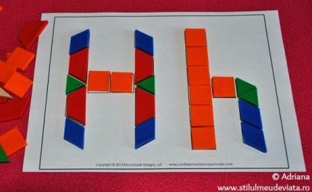 litera H din piese tangram