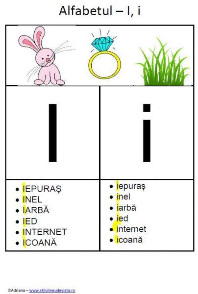 litera I - alfabetul ilustrat