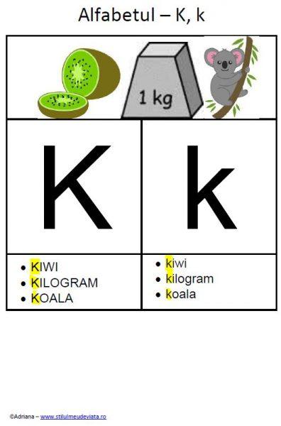 litera K - alfabetul ilustrat