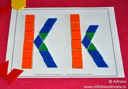 litera K din piese tangram