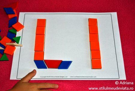 litera L din piese tangram