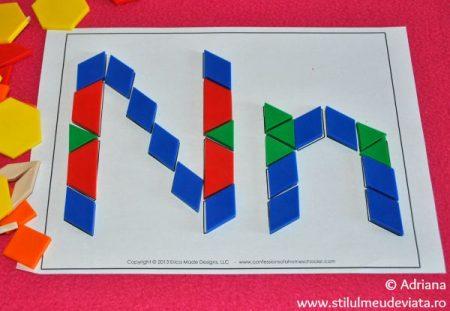 litera N din piese tangram
