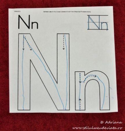 litera N, exersare scris