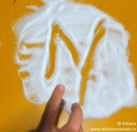 litera N, tablita cu sare