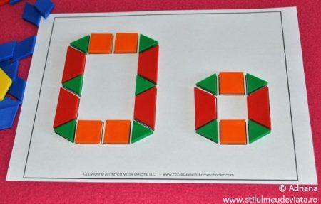 litera O din piese tangram