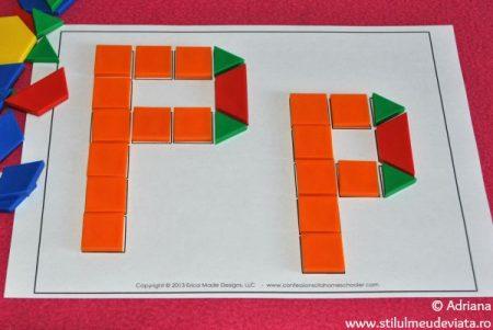 litera P din piese tangram
