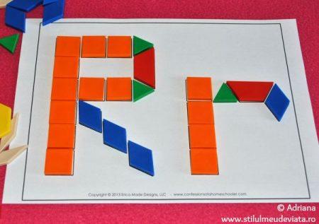 litera R din piese tangram