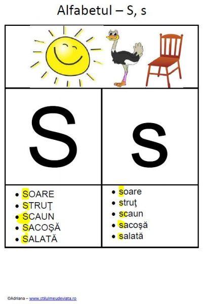 litera S - alfabetul ilustrat